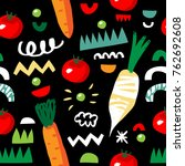vegetarian seamless pattern... | Shutterstock .eps vector #762692608
