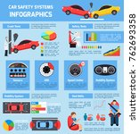 car safety systems infographics ...   Shutterstock . vector #762693358
