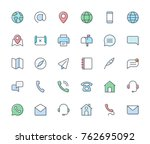 contact line filled icons. | Shutterstock .eps vector #762695092