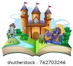 storybook with knight and... | Shutterstock .eps vector #762703246