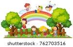 happy children playing in the... | Shutterstock .eps vector #762703516