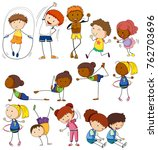 children and people doing... | Shutterstock .eps vector #762703696