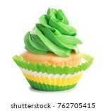 Tasty Colorful Cupcake On White ...