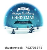 vintage christmas landscape... | Shutterstock .eps vector #762708976
