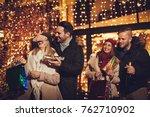 beautiful cheerful couple... | Shutterstock . vector #762710902