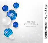 Christmas Background With Blue...