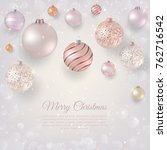 christmas background with light ... | Shutterstock .eps vector #762716542
