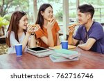 students asian group together... | Shutterstock . vector #762716746
