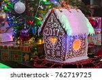 gingerbread house on the... | Shutterstock . vector #762719725