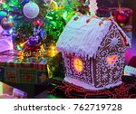 homemade gingerbread house and... | Shutterstock . vector #762719728