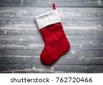Santa Red Sock Isolated On Gre...