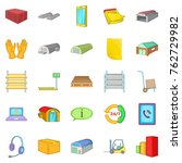storage of goods icons set.... | Shutterstock .eps vector #762729982
