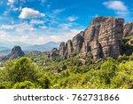 monasteries on the top of rock... | Shutterstock . vector #762731866