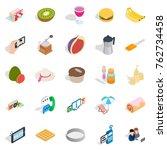 sweet food icons set. isometric ... | Shutterstock .eps vector #762734458