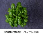 fresh green basil with copy... | Shutterstock . vector #762743458