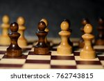 chess figures on a chessboard... | Shutterstock . vector #762743815