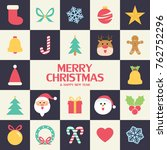 flat christmas icons seamless... | Shutterstock .eps vector #762752296