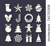 flat christmas icons seamless...