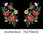 Stock vector flower embroidery design rose embroidery patch flower vector illustraion 762756652