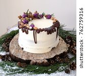 christmas cake with white icing ... | Shutterstock . vector #762759316