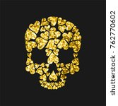 skull shape from gold hearts... | Shutterstock .eps vector #762770602