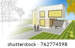 house  architectural sketch  3d ... | Shutterstock . vector #762774598