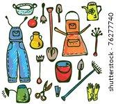 gardening tools set funny...   Shutterstock .eps vector #76277740