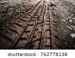 Tyre Track On Dirt Sand Or Mud...
