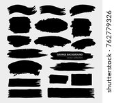 set of black grungy shapes on... | Shutterstock .eps vector #762779326