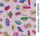 seamless pattern with funny... | Shutterstock .eps vector #762780376