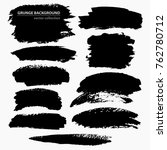 set of black grungy shapes on... | Shutterstock .eps vector #762780712