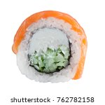 roll with salmon  cucumber and... | Shutterstock . vector #762782158