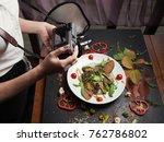 food blogger backstage working... | Shutterstock . vector #762786802