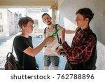 geek boy resist bad influence.... | Shutterstock . vector #762788896