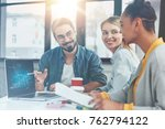 mixed race crew of trading... | Shutterstock . vector #762794122