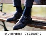 men elegant shoes with blue... | Shutterstock . vector #762800842