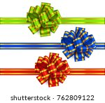 set of decorative new year bows ... | Shutterstock .eps vector #762809122