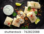 healthy grilled chicken and... | Shutterstock . vector #762822088