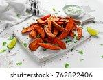 healthy homemade baked orange... | Shutterstock . vector #762822406
