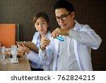 scientist man test liquid...   Shutterstock . vector #762824215