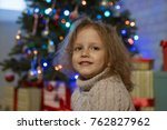 little girl at home in a... | Shutterstock . vector #762827962