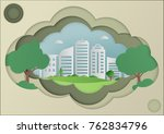 paper art of green grass and... | Shutterstock .eps vector #762834796