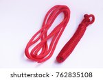 red rope on white back ground. | Shutterstock . vector #762835108