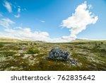 open norwegian plain with small ... | Shutterstock . vector #762835642