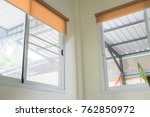 roll blinds with yellow... | Shutterstock . vector #762850972