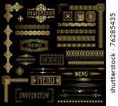 gold menu and invitation border ... | Shutterstock .eps vector #76285435