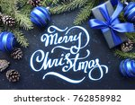 christmas gift with blue ribbon ... | Shutterstock . vector #762858982
