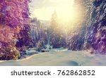 wonderful wintry landscape.... | Shutterstock . vector #762862852