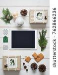 elegant nordic retro christmas  ... | Shutterstock . vector #762866236