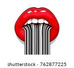 barcode strip makeup of female... | Shutterstock .eps vector #762877225
